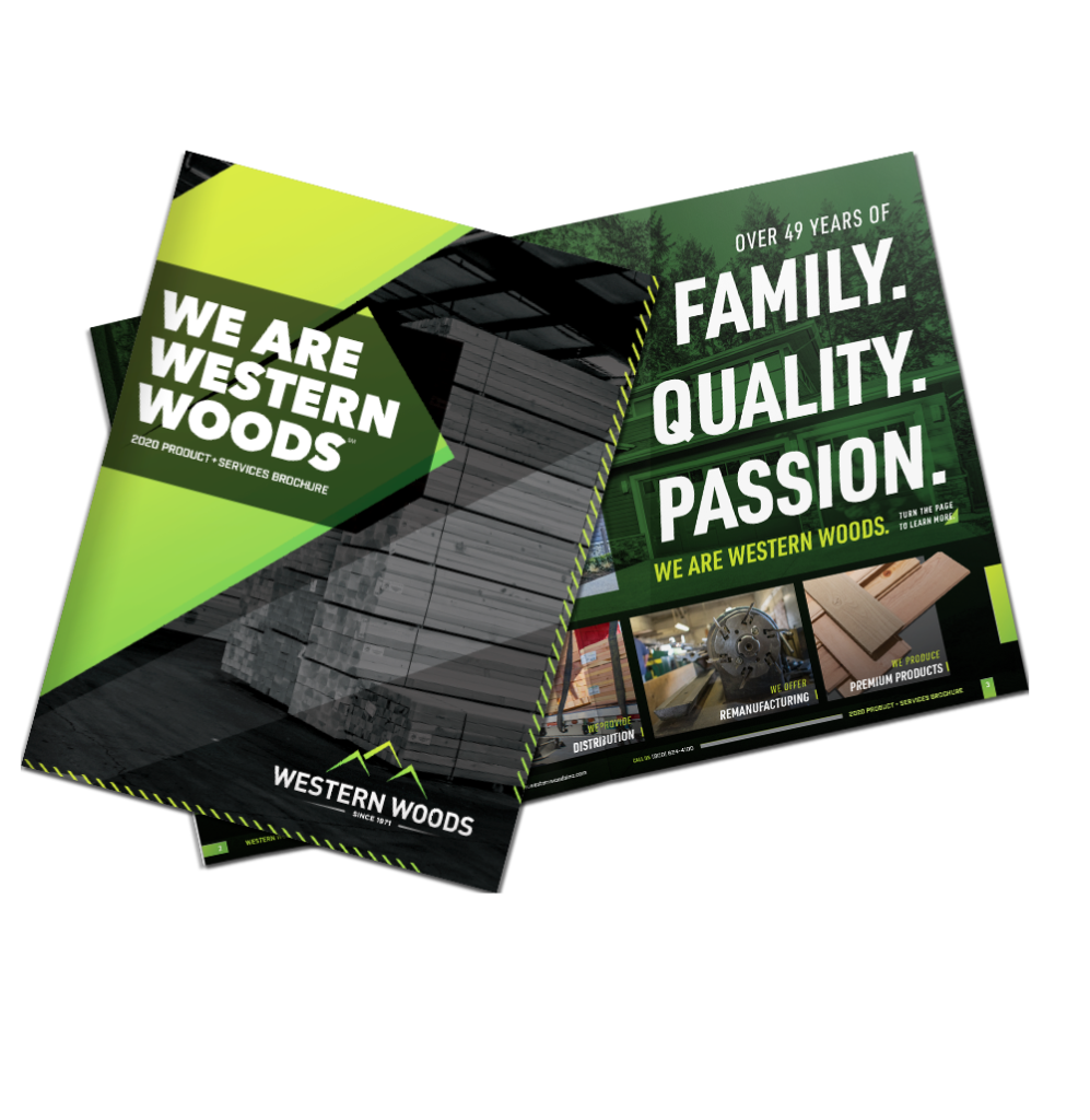 Western Woods 2020 Product + Services Brochure flat, spread beauty image.