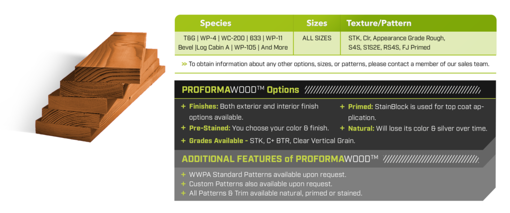 A chart featuring the different sizing, patterns, textures, features and options for Western Woods PROFORMAWOOD Premium Western Red Cedar.