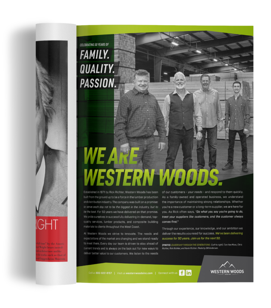 Western Woods 50th Anniversary Ad in the 03.21 issue of Merchant Magazine Ad.